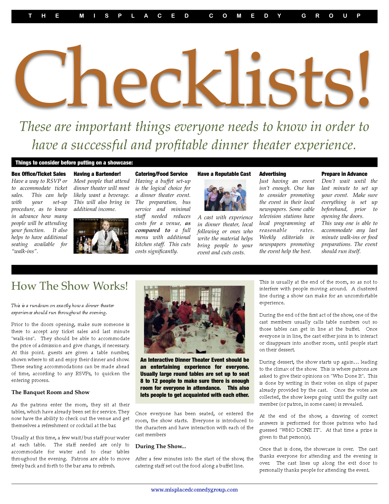 DinnerTheater Checklists